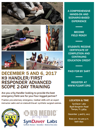 SART Offers K9 Handler/First Responder Advanced Scope 2-day Training Class